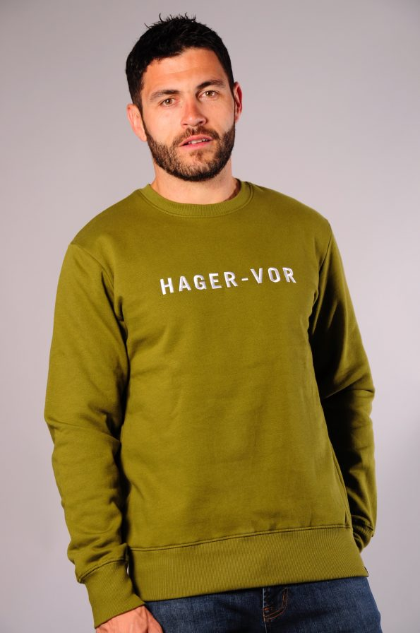 embroidered crew olive-f