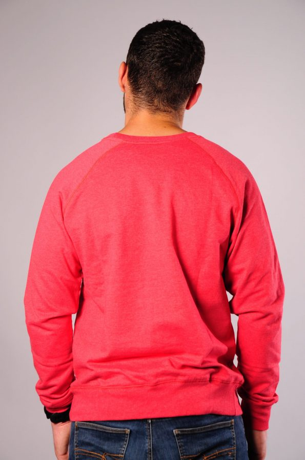 embroidered crew red-b