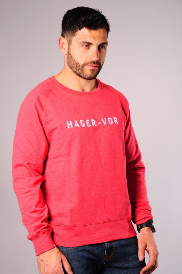 embroidered crew red-f