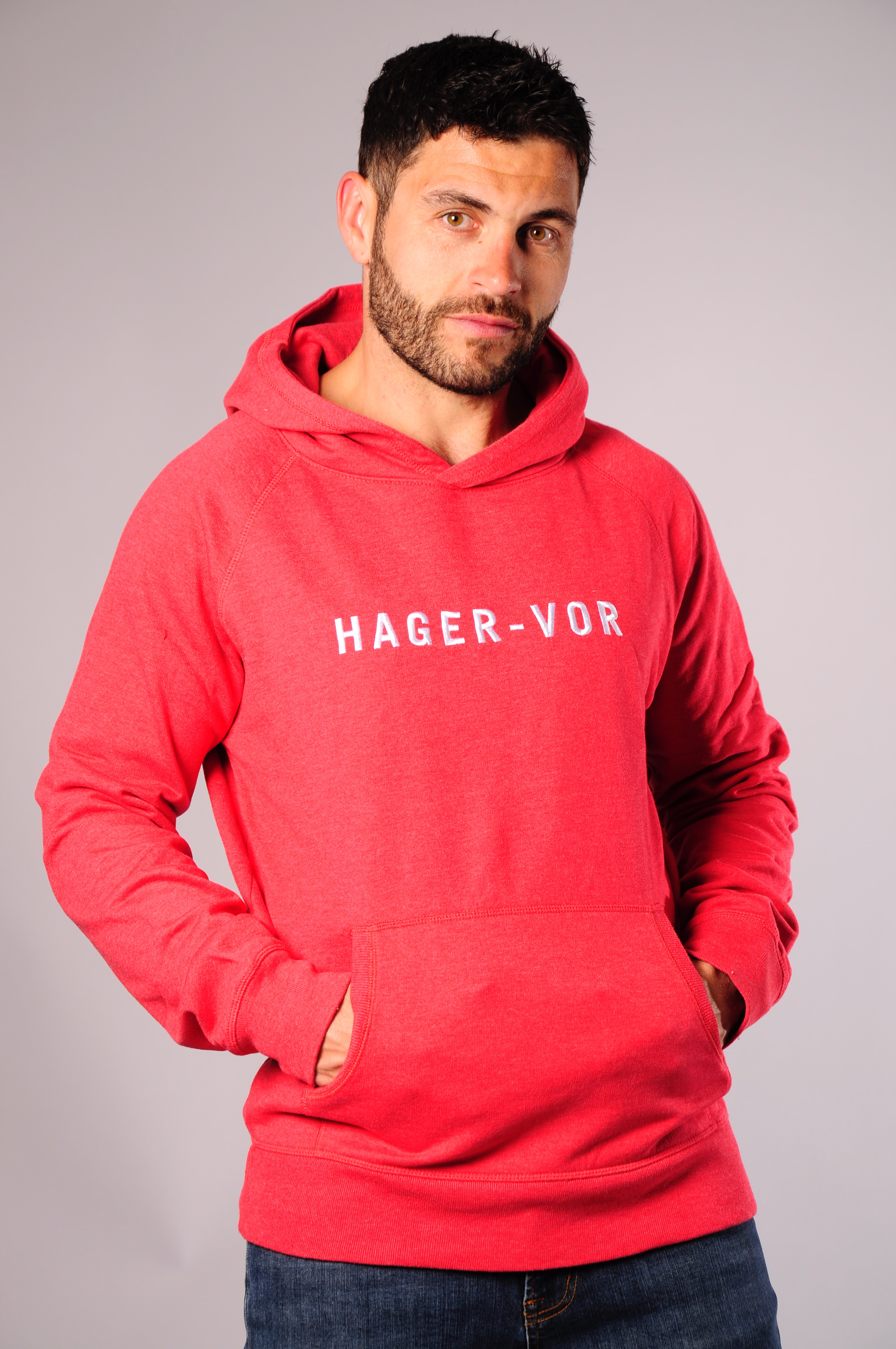 4fc65d743 EMBROIDERED TEXT RAGLAN HOODIE IN RED